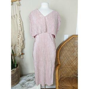 METALLIC Foil Crinkle Pleated Blush Pink Dress